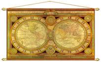 Carta Antica del Mondo Planisfero stampata tela con aste