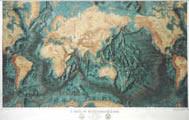 Carta del Mondo Planisfero con Fondali degli Oceani