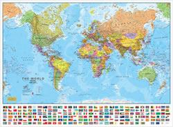 Carta del Mondo Planisfero fisico politico con bandiere Plastificato