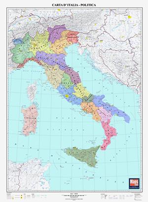 Carta Murale Italia Politica cartografia aggiornata con