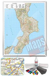 Carta Murale Magnetica della Calabria cartografia dettagliatissima aggiornata