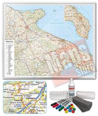 Carta Murale Magnetica della Puglia cartografia dettagliatissima aggiornata