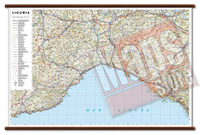 Liguria carta murale plastificata con eleganti aste legno cartografia