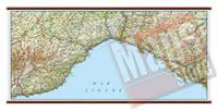 Liguria carta murale plastificata con eleganti aste legno scrivibile