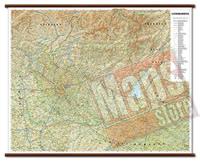 Lombardia carta murale plastificata con eleganti aste legno cartografia