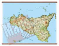 Sicilia carta murale plastificata con eleganti aste legno cartografia