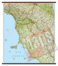 Toscana carta murale plastificata con eleganti aste legno cartografia