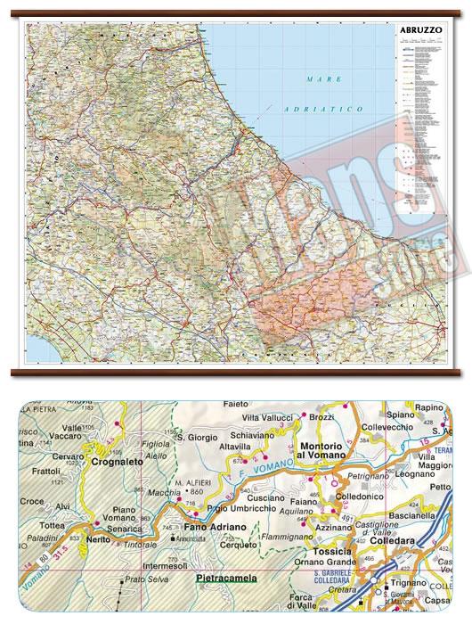 immagine di mappa murale mappa murale Abruzzo, Molise - mappa murale plastificata con eleganti aste in legno, scrivibile e lavabile - cartografia dettagliata ed aggiornata - 96 x 78 cm