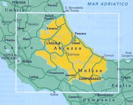 Molise Cartina Stradale.Mappa Stradale Regionale Abruzzo E Molise Mappa Stradale Con Distanze Stradali Percorsi Panoramici Nuova Edizione