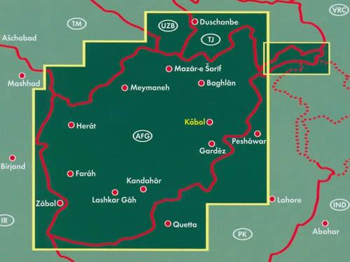 immagine di mappa stradale mappa stradale Afghanistan - Kabul, Qandahar/Kandahar, Baghlan, Mazar-i Sharif, Meymaneh, Herat, Farah, Lashkar Gah, Gardez - mappa stradale