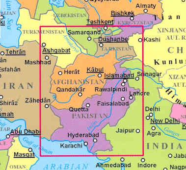 immagine di mappa stradale mappa stradale Afghanistan, Pakistan, Tajikistan