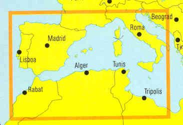 immagine di mappa stradale mappa stradale Nord Africa - con Algeria, Marocco, Tunisia, Sud Italia, Spagna e isole - edizione 2013