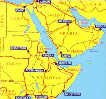 immagine di mappa stradale mappa stradale 745 - Africa Nord-Est, Arabia