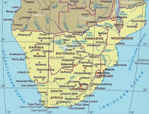 Cartina Africa Del Sud.Mappa Stradale Africa Del Sud Con Botswana Lesotho Mozambico