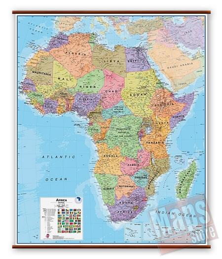 immagine di mappa murale mappa murale Africa  - mappa murale plastificata, laminata, scrivibile e lavabile - con eleganti aste in legno e ganci in acciaio - cartografia fisica e politica - 100 x 125 cm