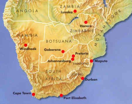 Cartina Africa Sud.Mappa Stradale Africa Del Sud Southern Africa Sudafrica