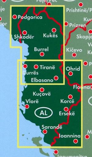 immagine di mappa stradale mappa stradale Albania - Tirana, Durazzo, Scutari, Elbasan, Coriza, Valona, Fier - mappa stradale con luoghi panoramici, parchi e riserve naturali - edizione 2013
