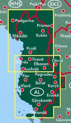 immagine di mappa stradale mappa stradale Albania - con Tirana, Durazzo, Scutari, Elbasan, Coriza, Valona, Fier - mappa stradale con luoghi panoramici, parchi e riserve naturali - edizione 2018