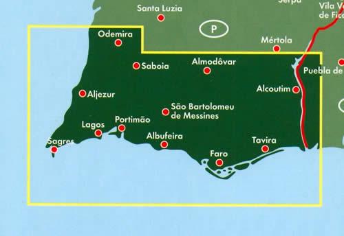 Cartina Geografica Algarve.Mappa Stradale Algarve Con Albufeira Alcoutim Aljezur Castro Marim Faro Lagoa Lagos Loule Monchique Olhao Portimao Sao Bras De Alportel Silves Tavira Vila Do Bispo Vila Real De Santo Antonio