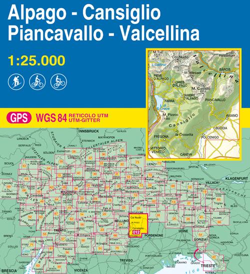 immagine di mappa topografica mappa topografica 012 - Alpago - Cansiglio - Piancavallo - Val Cellina