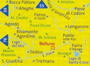 immagine di mappa topografica mappa topografica n.77 - Alpi Bellunesi, Alleghe, Rocca Piétore, Monte Civetta, Valle d'Ampezzo, Pieve di Cadore, Antelao, Longarone, Ponte nelle Alpi, Farra d'Alpago, Passo Duran, Agordo, Rivamonte, M. Pizzocco, S. Giustina, Trichiana, Belluno, M. Schiara