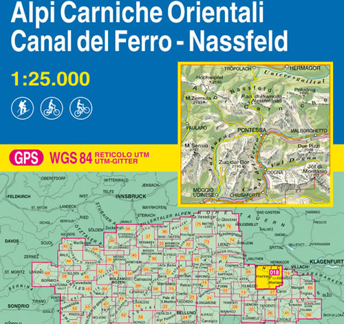 immagine di mappa topografica mappa topografica 018 - Alpi Carniche Orientali - Canal del Ferro