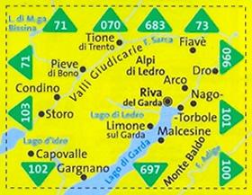 immagine di mappa topografica mappa topografica n.071 - Alpi di Ledro, Valli Giudicarie - con Monte Baldo, Malcesine, Riva del Garda, Limone sul Garda, Arco, Dro, Fiavè, Tione di Trento, Pieve di Bono, Condino, Storo, Capovalle, Lago d'Idro, Gargnano - con sentieri CAI, percorsi MTB, vie ferrate, parchi e riserve naturali - mappa plastificata, compatibile con GPS - edizione 2017