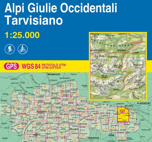 immagine di mappa topografica mappa topografica n.019 - Alpi Giulie Occidentali, Tarvisiano - Canin, Bovec, Cave del Predil, Mangart, Lago del Predil, Tarvisio, Fusine, Jof di Montasio, Due Pizzi, Malborghetto, Sella Nevea, Zaga, Osternig, Poludnig - con reticolo UTM compatibile con GPS - EDIZIONE 2021