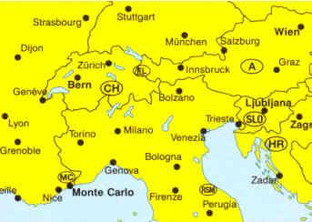 immagine di mappa stradale mappa stradale Le Alpi, Nord Italia, Svizzera, Austria, Germania Sud, Francia Est, Slovenia, Croazia - edizione 2013