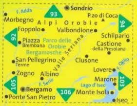 immagine di mappa topografica mappa topografica n.104 - Alpi Orobie Bergamasche, Valle Brembana, Valle Seriana, Sondrio, Morbegno, Foppolo, San Pellegrino Terme, Bergamo, Monte Isola, Lago d'Iseo, Lovere - con sentieri CAI, percorsi panoramici e parchi naturali - mappa plastificata, compatibile con GPS - edizione 2017