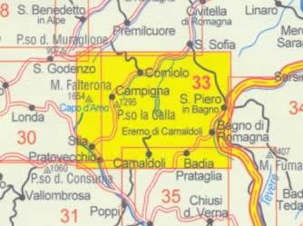 immagine di mappa topografica mappa topografica n.33 - Alto Casentino, Valli del Bidente - con Monte Falterona, Campigna, Parco Nazionale Foreste Casentinesi, Corniolo, Camaldoli, Passo la Calla, Bagno di Romagna, Stia, Pratovecchio, Lago di Ridracoli
