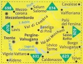 immagine di mappa topografica mappa topografica n.075 - Altopiano di Piné - Val di Cembra, Val di Mocheni, Passo Manghen, Mezzolombardo, Trento, Sasso Rotto - compatibile con GPS + mappa panoramica - nuova edizione