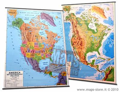 immagine di mappa murale mappa murale America del Nord (Canada, Stati Uniti/USA, Messico) - mappa murale plastificata con aste - cartografia fisica e politica (stampata fronte/retro) - 102 x 140 cm