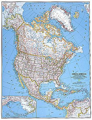 immagine di mappa murale mappa murale America del Nord (Canada, Stati Uniti, Messico) - mappa murale politica - 91 x 119 cm