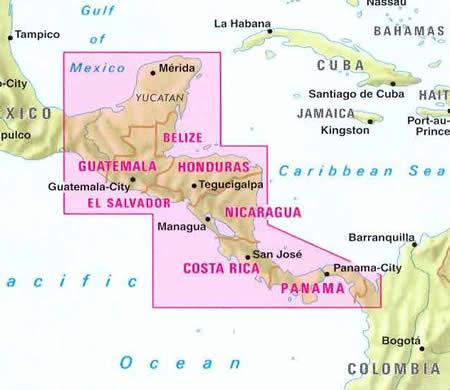 immagine di mappa stradale mappa stradale America Centrale - con Costa Rica, Yucatan, Guatemala, Belize, El Salvador, Honduras, Nicaragua, Panama