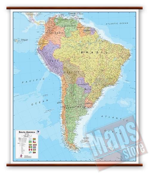 immagine di mappa murale mappa murale America del Sud - mappa murale plastificata, laminata, scrivibile e lavabile, con aste in legno e ganci in acciaio - con cartografia aggiornata fisico-politica - 100 x 125 cm