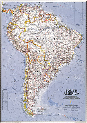 immagine di mappa murale mappa murale America del Sud - mappa murale politica - 91 x 119 cm
