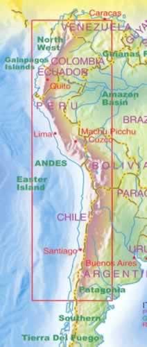 immagine di mappa stradale mappa stradale Le Ande / Andes - mappa plastificata - nuova edizione