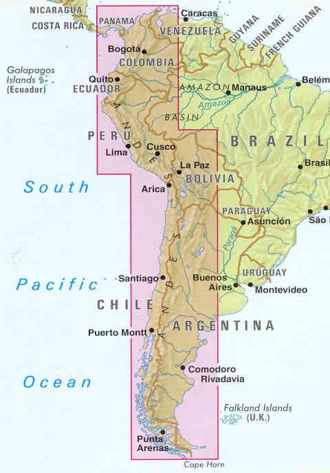 immagine di mappa stradale mappa stradale Le Ande / The Andes (SudAmerica / South America)