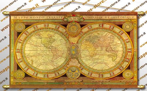 immagine di mappa mappa Mappa Antica del Mondo (Planisfero) - stampata su tela con aste di sostegno in ferro e pomoli di ottone - 142 x 85 cm  - cod.D363-4