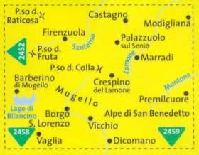 immagine di mappa topografica mappa topografica n.2453 - Appennino Tosco Romagnolo, Borgo San Lorenzo, Firenzuola, Vicchio, Alpe di San Benedetto, Mugello, Castagno, Passo Raticosa, Lago di Bilancino, Marradi, Vaglia - mappa plastificata, compatibile con sistemi GPS - edizione 2019