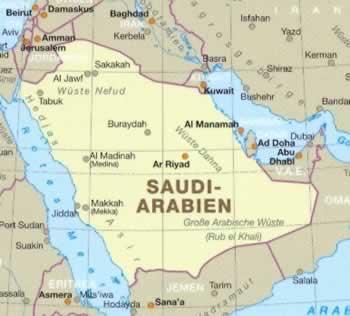 immagine di mappa stradale mappa stradale Arabia Saudita - Mappa Plastificata