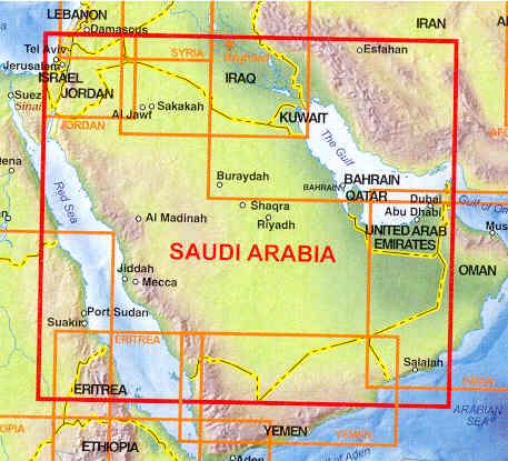 immagine di mappa stradale mappa stradale Arabia Saudita con Emirati Arabi Uniti, Bahrain, Qatar e Kuwait