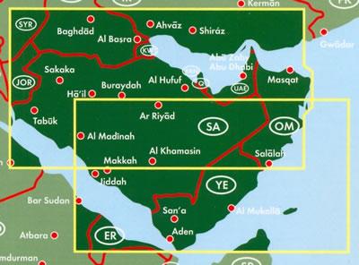 immagine di mappa stradale mappa stradale Arabia Saudita, Qatar, Emirati Arabi Uniti, Oman, Yemen, Kuwait - con Riyad, La Mecca, Gedda, Qatif, Sakaka, Tabūk, Al-Madina, Al Hufuf, Buraydah, Al Khamasin