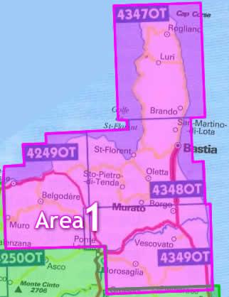 immagine di mappa topografica mappa topografica Area n.1 - Corsica del Nord - con Bastia, Cap Corse, Murato, Vescovato - 4 mappe topografiche con reticolo UTM per GPS