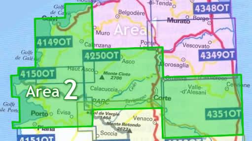 immagine di mappa topografica mappa topografica Area n.2 - Corsica Centro Nord - con Calvi, Porto, Corte, Monte Cinto, Cervione - 4 mappe topografiche con reticolo UTM per GPS