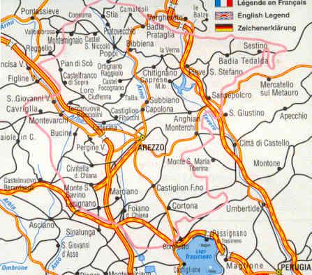 Cartina Geografica Di Arezzo.Mappa Stradale Provinciale Arezzo