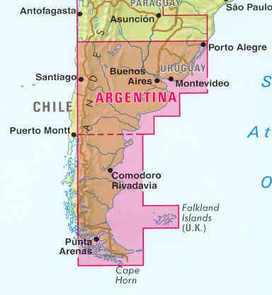 Patagonia Cartina Geografica.Mappa Stradale Argentina Sud Patagonia Uruguay