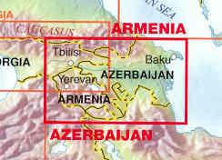 immagine di mappa stradale mappa stradale Armenia e Azerbaijan - con Yerevan e Baku