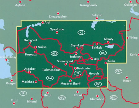 immagine di mappa stradale mappa stradale Asia Centrale - Kyrgyzstan, Sud del Kazakhstan, Tajikistan, Turkmenistan, Uzbekistan - con Aral, Qyzylorda, Shymkent, Almaty, Bishkek, Toshkent, Osh, Kashi, Nukus, Samarcanda, Dushanbe, Horugh, Turkmenabat, Asgabat, Dasoguz, Mazar-i-Sharif - edizione 2021